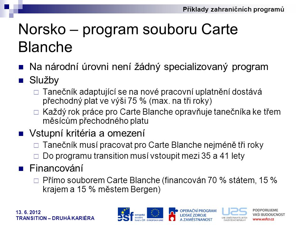 Norsko – program souboru Carte Blanche