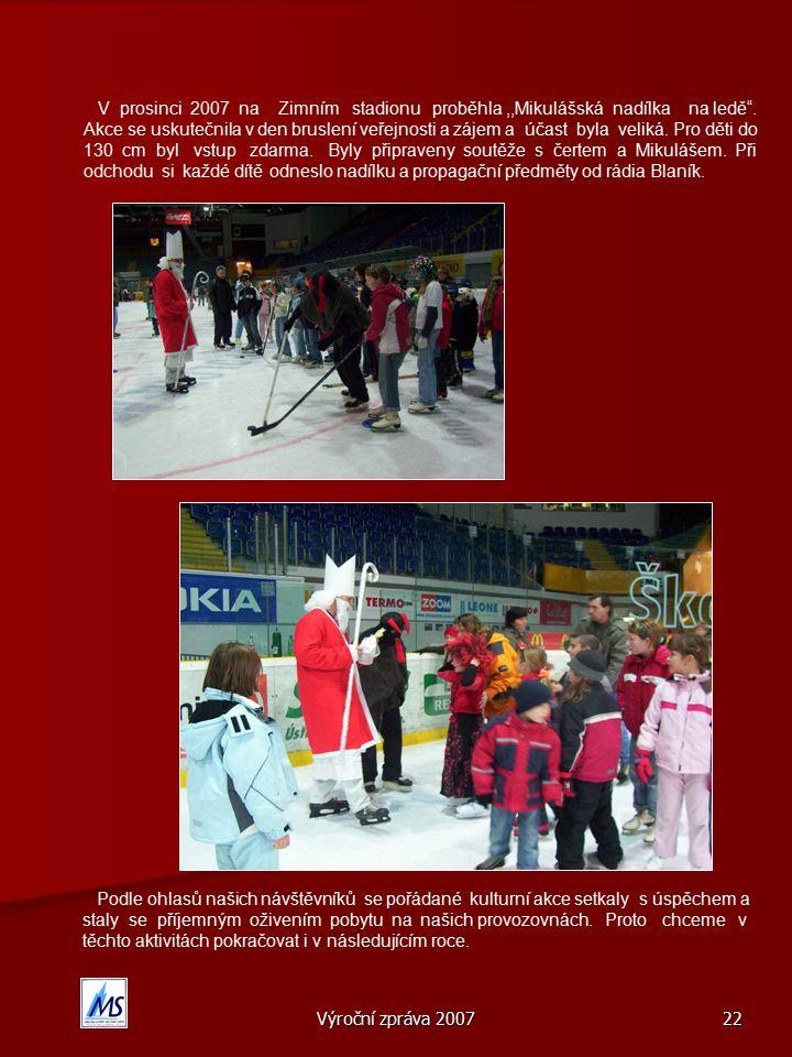 V prosinci 2007 na Zimním stadionu proběhla ,,Mikulášská nadílka na ledě . Akce se uskutečnila v den bruslení veřejnosti a zájem a účast byla veliká. Pro děti do 130 cm byl vstup zdarma. Byly připraveny soutěže s čertem a Mikulášem. Při odchodu si každé dítě odneslo nadílku a propagační předměty od rádia Blaník.