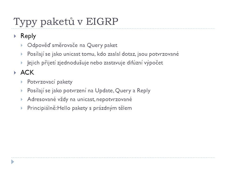 Typy paketů v EIGRP Reply ACK Odpověď směrovače na Query paket
