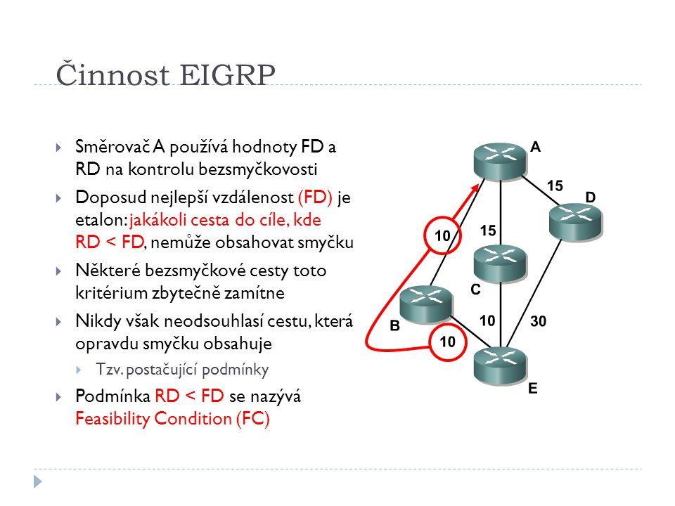 Činnost EIGRP Směrovač A používá hodnoty FD a RD na kontrolu bezsmyčkovosti.