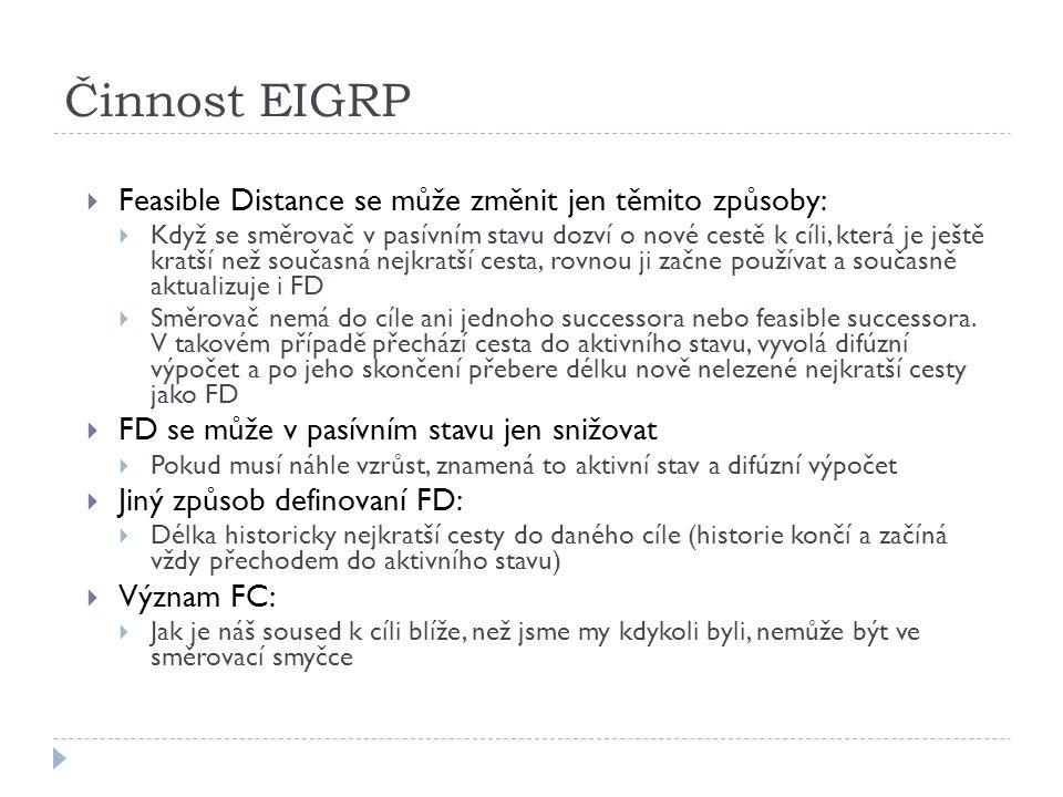 Činnost EIGRP Feasible Distance se může změnit jen těmito způsoby: