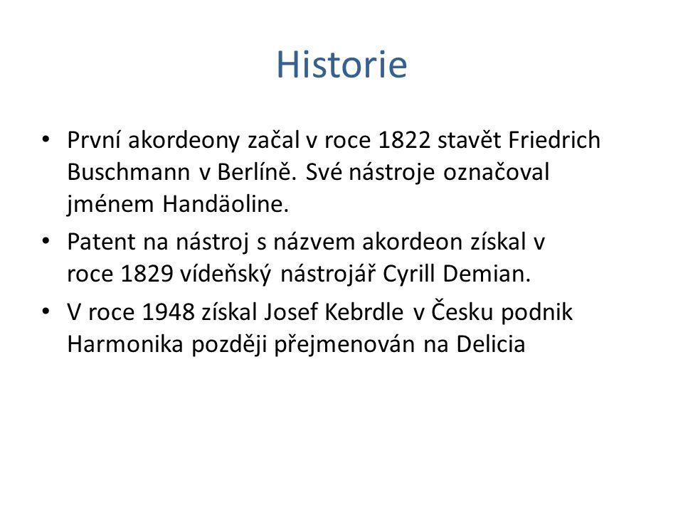 Historie První akordeony začal v roce 1822 stavět Friedrich Buschmann v Berlíně. Své nástroje označoval jménem Handäoline.