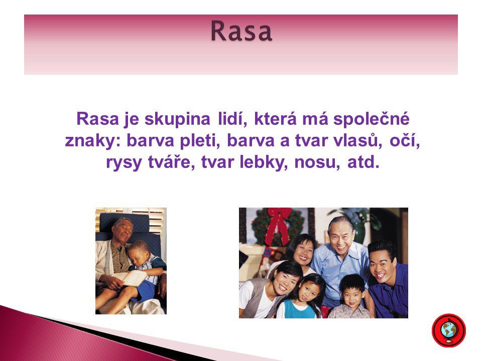 Rasa Rasa je skupina lidí, která má společné znaky: barva pleti, barva a tvar vlasů, očí, rysy tváře, tvar lebky, nosu, atd.