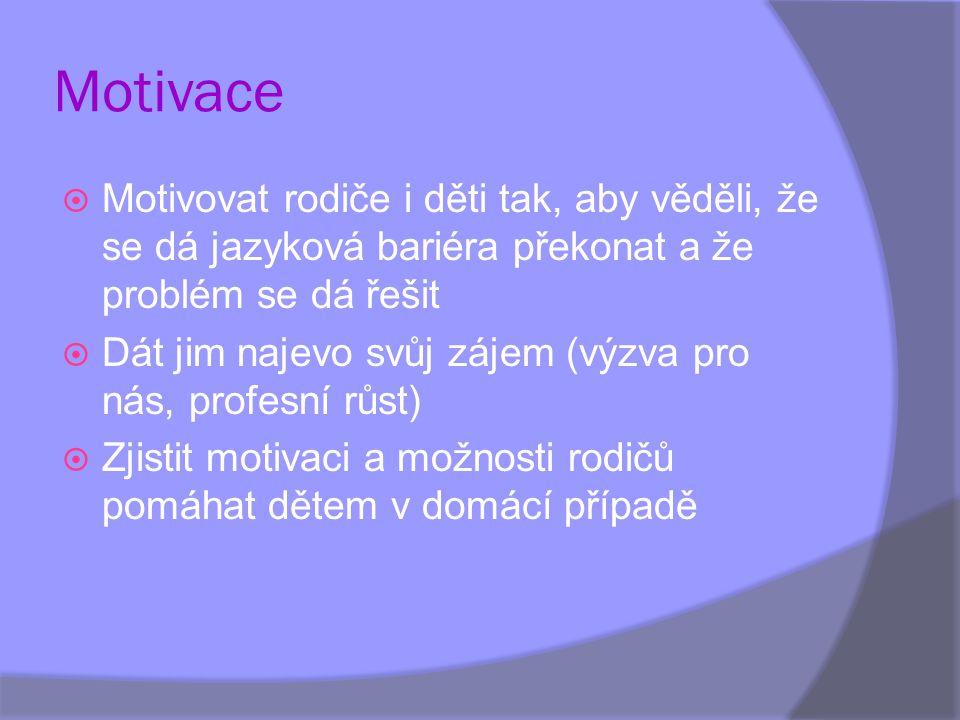 Motivace Motivovat rodiče i děti tak, aby věděli, že se dá jazyková bariéra překonat a že problém se dá řešit.