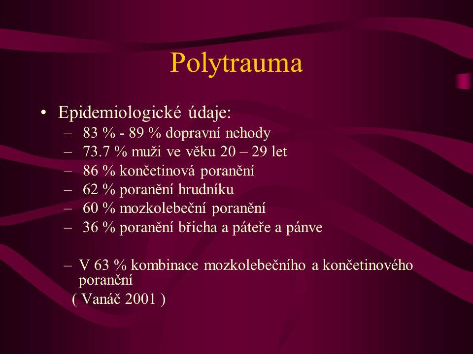 Polytrauma Epidemiologické údaje: 83 % - 89 % dopravní nehody