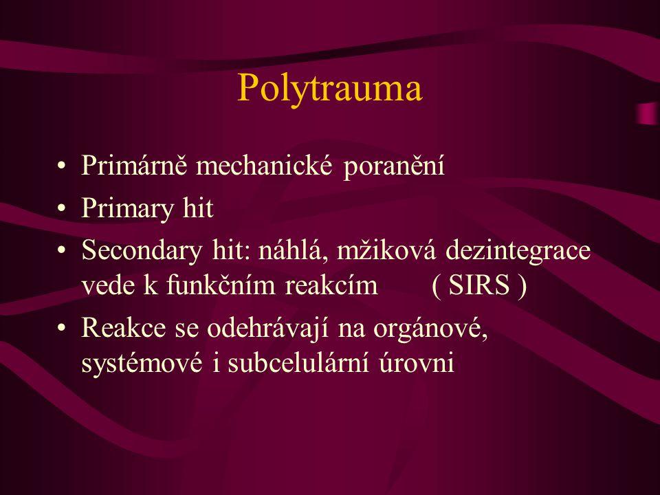 Polytrauma Primárně mechanické poranění Primary hit