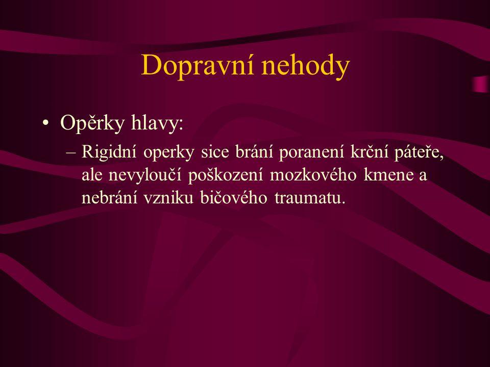 Dopravní nehody Opěrky hlavy:
