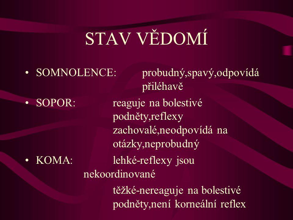 STAV VĚDOMÍ SOMNOLENCE: probudný,spavý,odpovídá přiléhavě