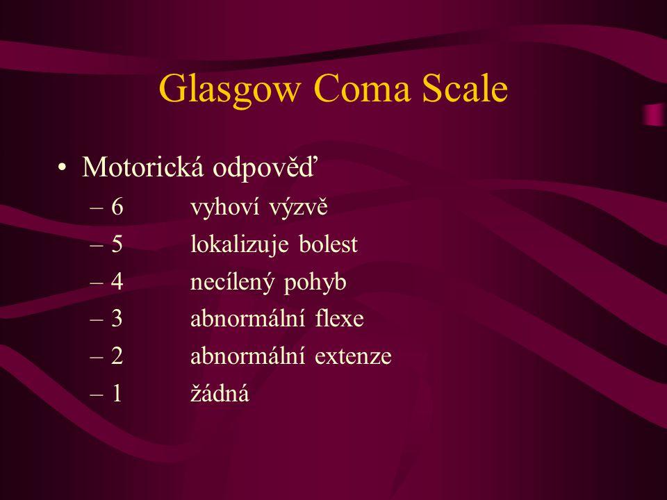 Glasgow Coma Scale Motorická odpověď 6 vyhoví výzvě
