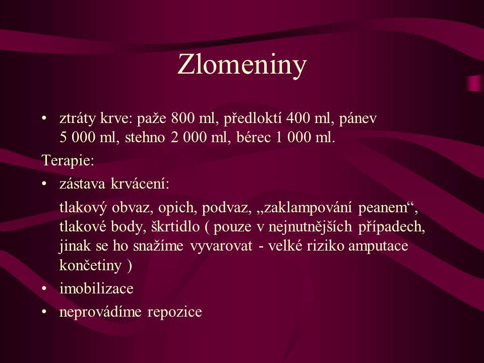 Zlomeniny ztráty krve: paže 800 ml, předloktí 400 ml, pánev 5 000 ml, stehno 2 000 ml, bérec 1 000 ml.