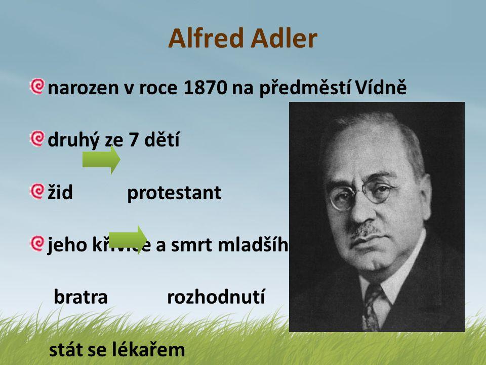 Alfred Adler narozen v roce 1870 na předměstí Vídně druhý ze 7 dětí