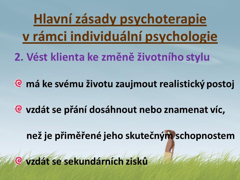 Hlavní zásady psychoterapie v rámci individuální psychologie