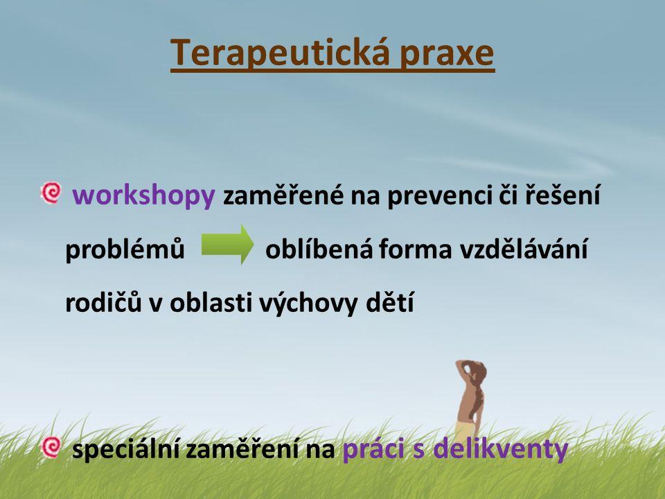 Terapeutická praxe workshopy zaměřené na prevenci či řešení problémů oblíbená forma vzdělávání rodičů v oblasti výchovy dětí.