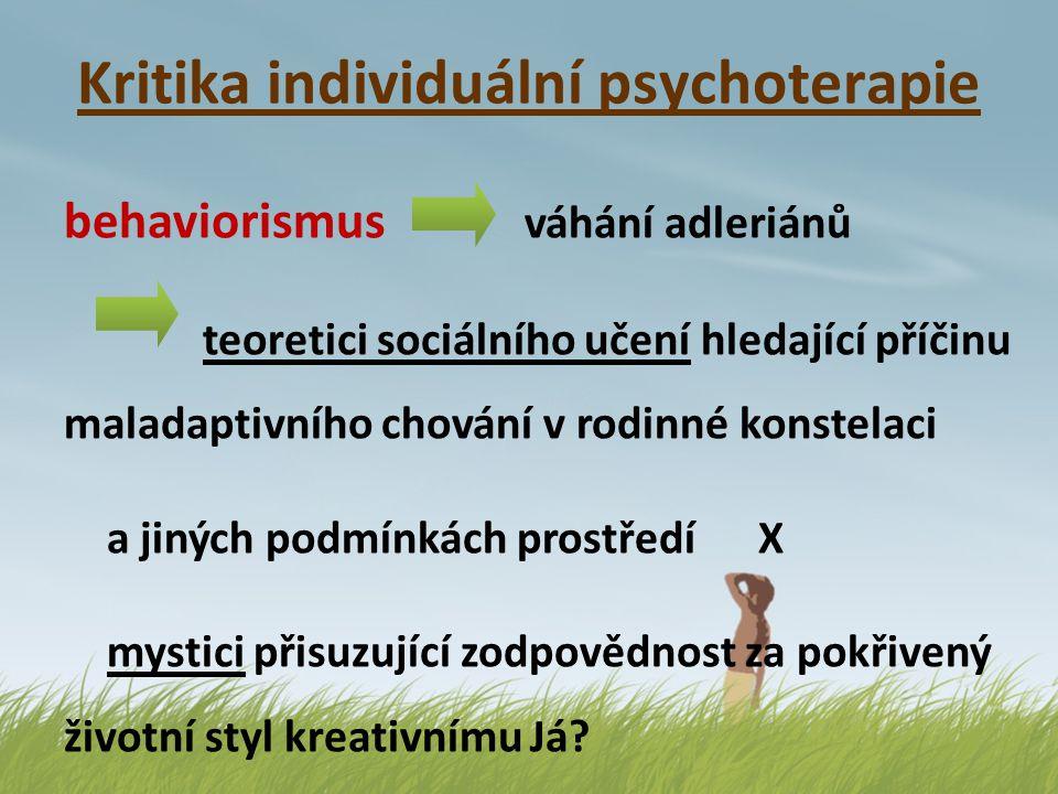 Kritika individuální psychoterapie