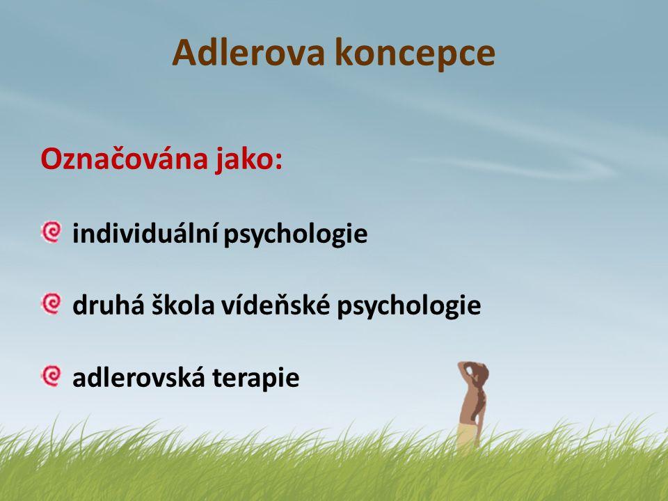 Adlerova koncepce Označována jako: Řazena do: individuální psychologie