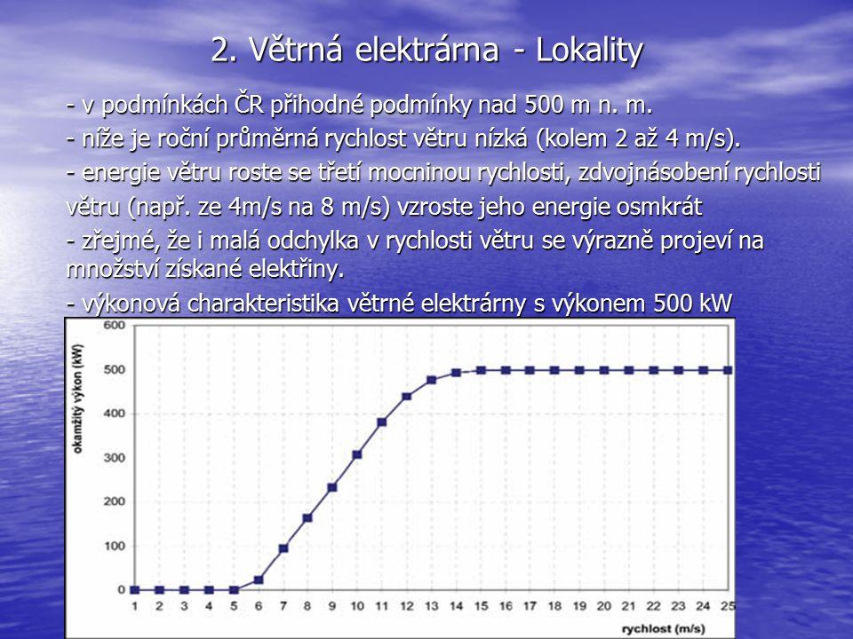 2. Větrná elektrárna - Lokality