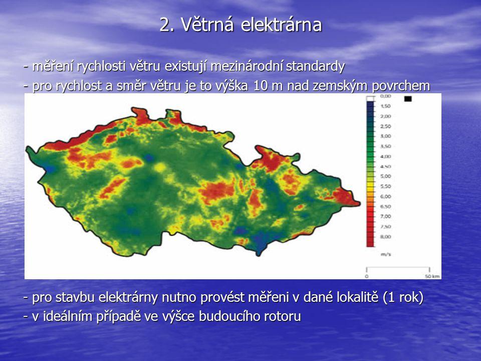 2. Větrná elektrárna - měření rychlosti větru existují mezinárodní standardy. - pro rychlost a směr větru je to výška 10 m nad zemským povrchem.