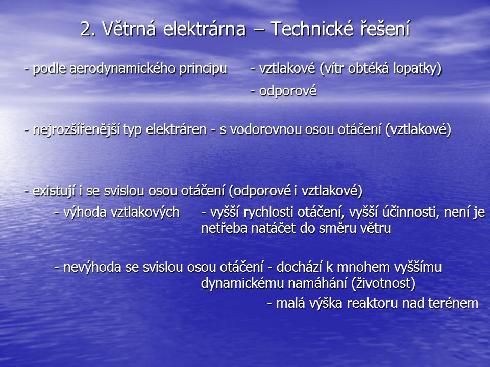 2. Větrná elektrárna – Technické řešení
