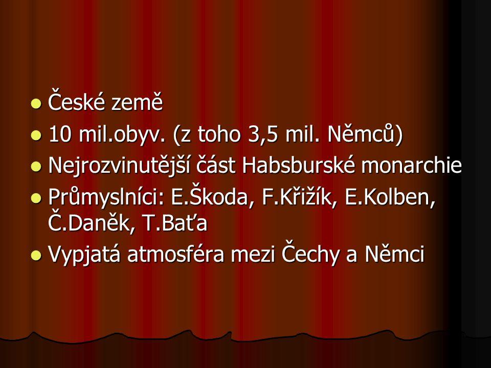 České země 10 mil.obyv. (z toho 3,5 mil. Němců) Nejrozvinutější část Habsburské monarchie.