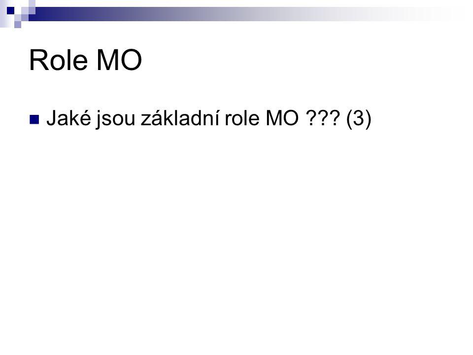 Role MO Jaké jsou základní role MO (3)