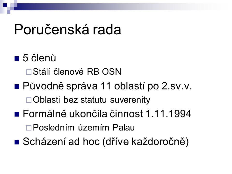 Poručenská rada 5 členů Původně správa 11 oblastí po 2.sv.v.