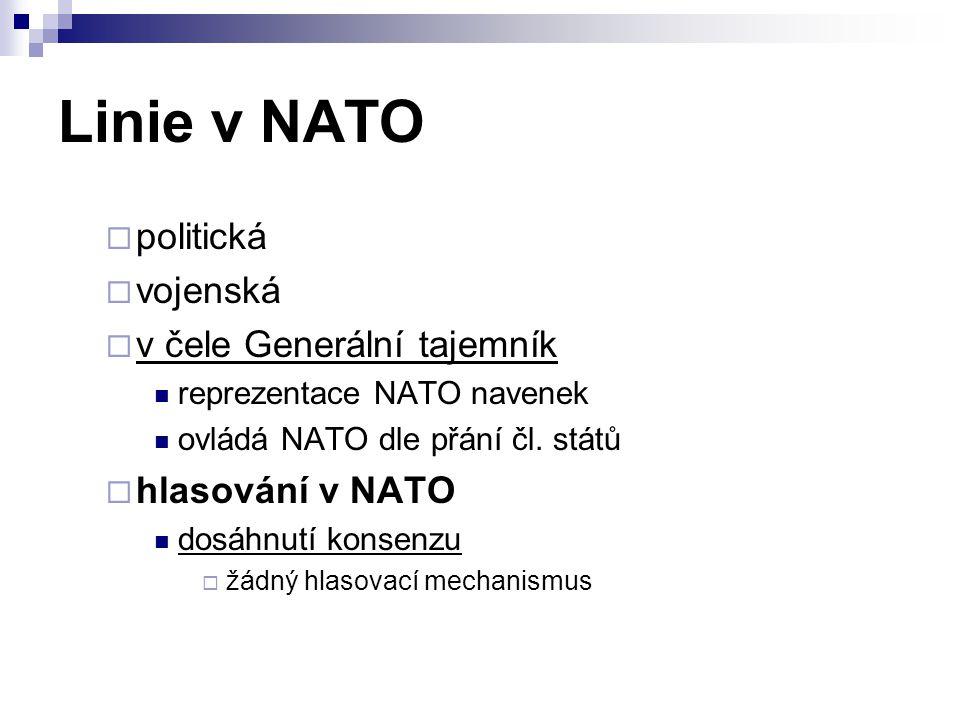 Linie v NATO politická vojenská v čele Generální tajemník