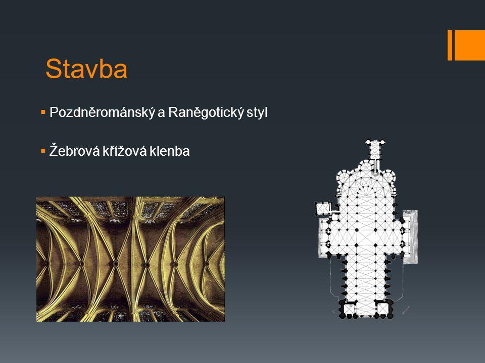 Stavba Pozdněrománský a Raněgotický styl Žebrová křížová klenba