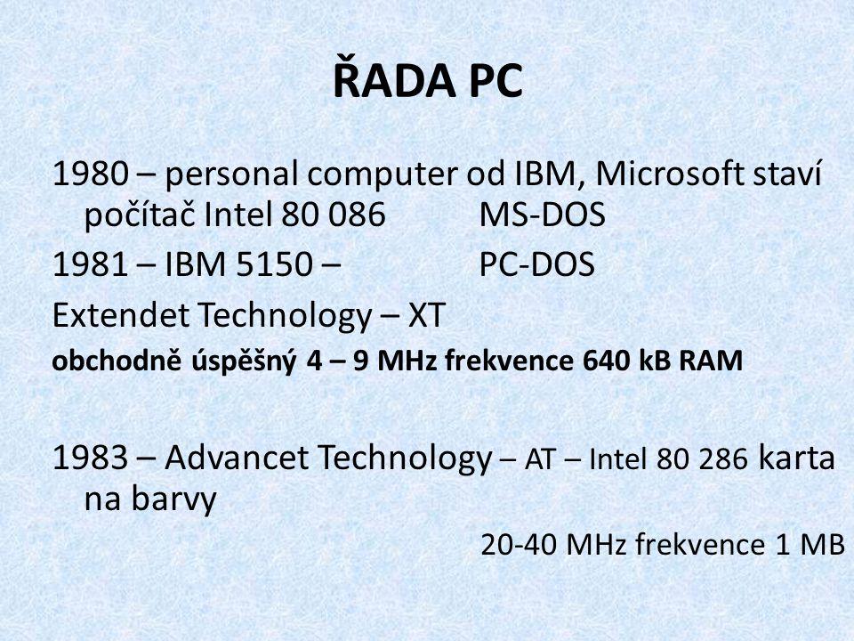 ŘADA PC 1980 – personal computer od IBM, Microsoft staví počítač Intel 80 086 MS-DOS. 1981 – IBM 5150 – PC-DOS.