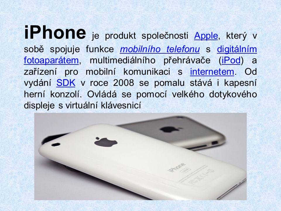 iPhone je produkt společnosti Apple, který v sobě spojuje funkce mobilního telefonu s digitálním fotoaparátem, multimediálního přehrávače (iPod) a zařízení pro mobilní komunikaci s internetem.