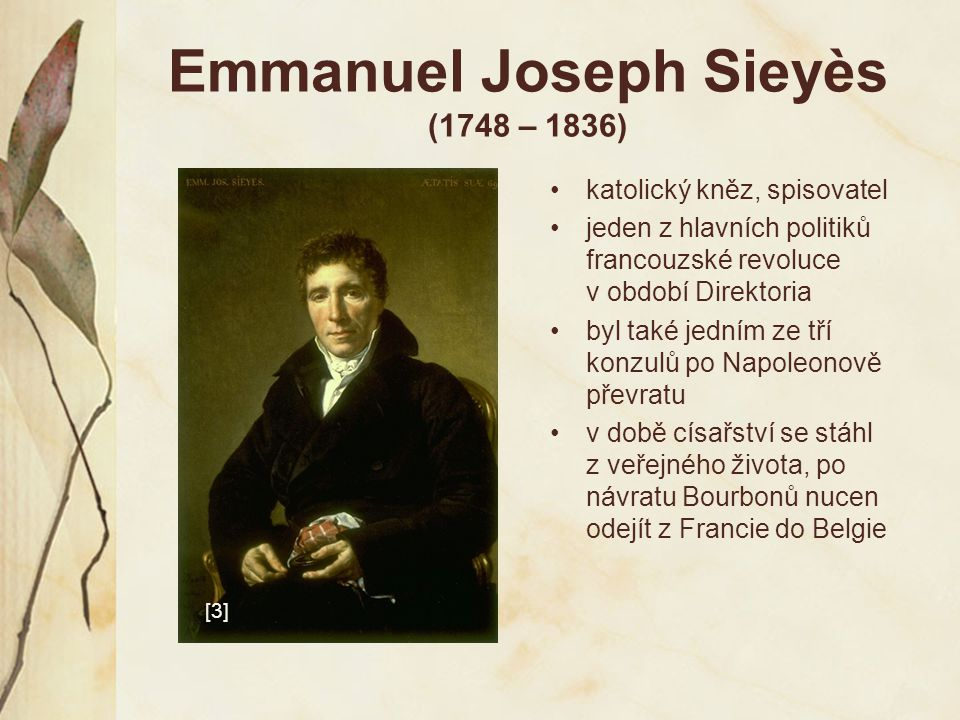 Emmanuel Joseph Sieyès (1748 – 1836)