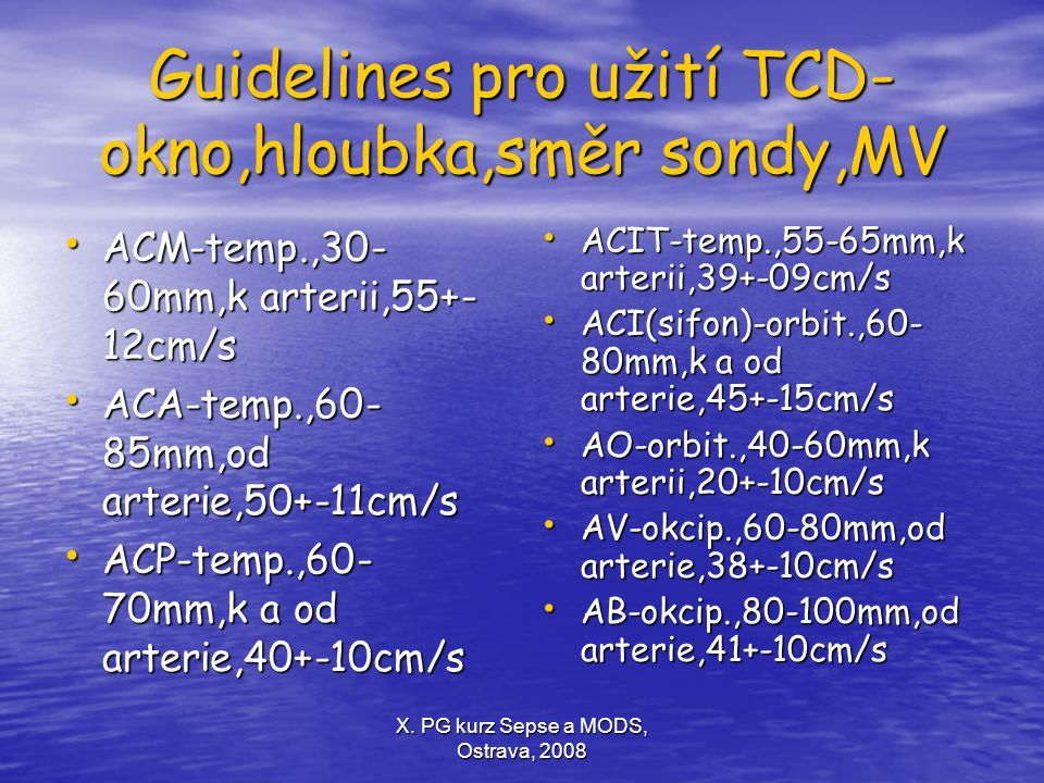 Guidelines pro užití TCD-okno,hloubka,směr sondy,MV