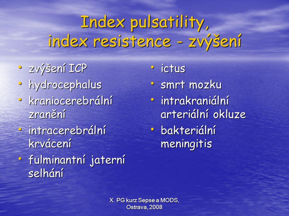 Index pulsatility, index resistence - zvýšení