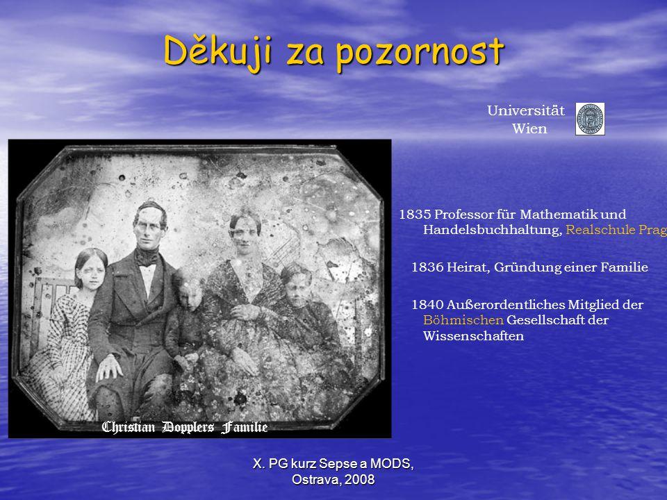 Děkuji za pozornost Universität Wien Christian Dopplers Familie