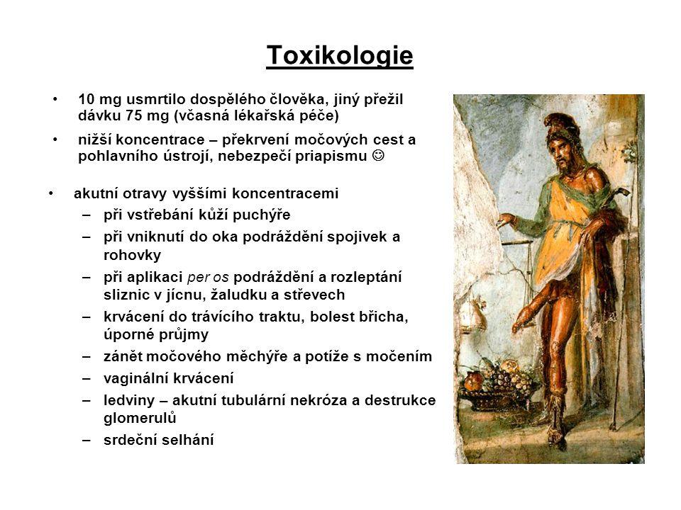 Toxikologie 10 mg usmrtilo dospělého člověka, jiný přežil dávku 75 mg (včasná lékařská péče)