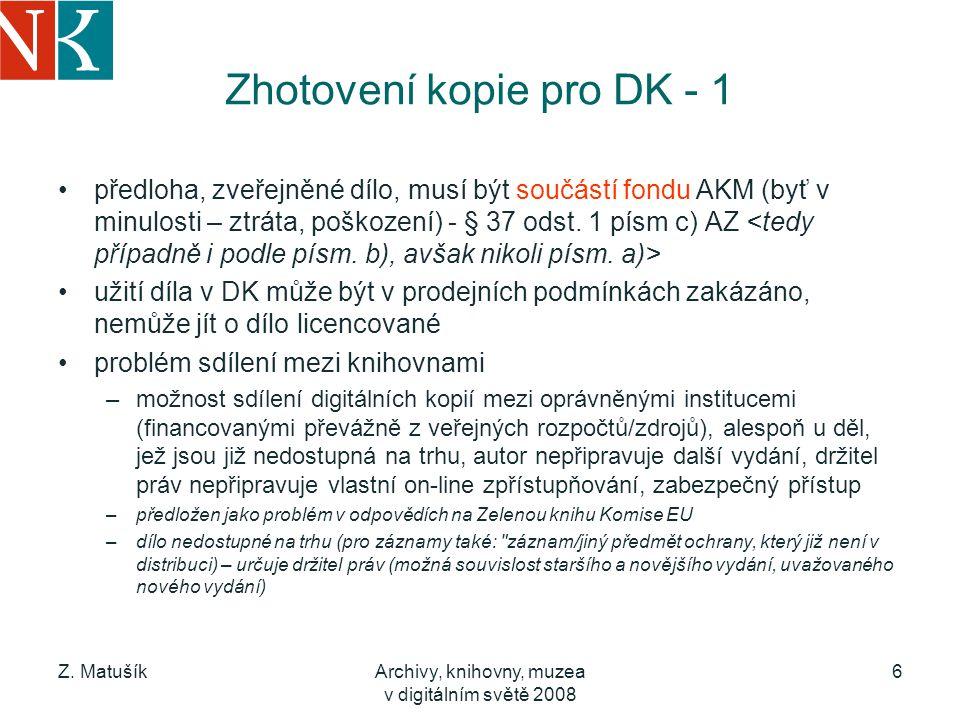 Zhotovení kopie pro DK - 1