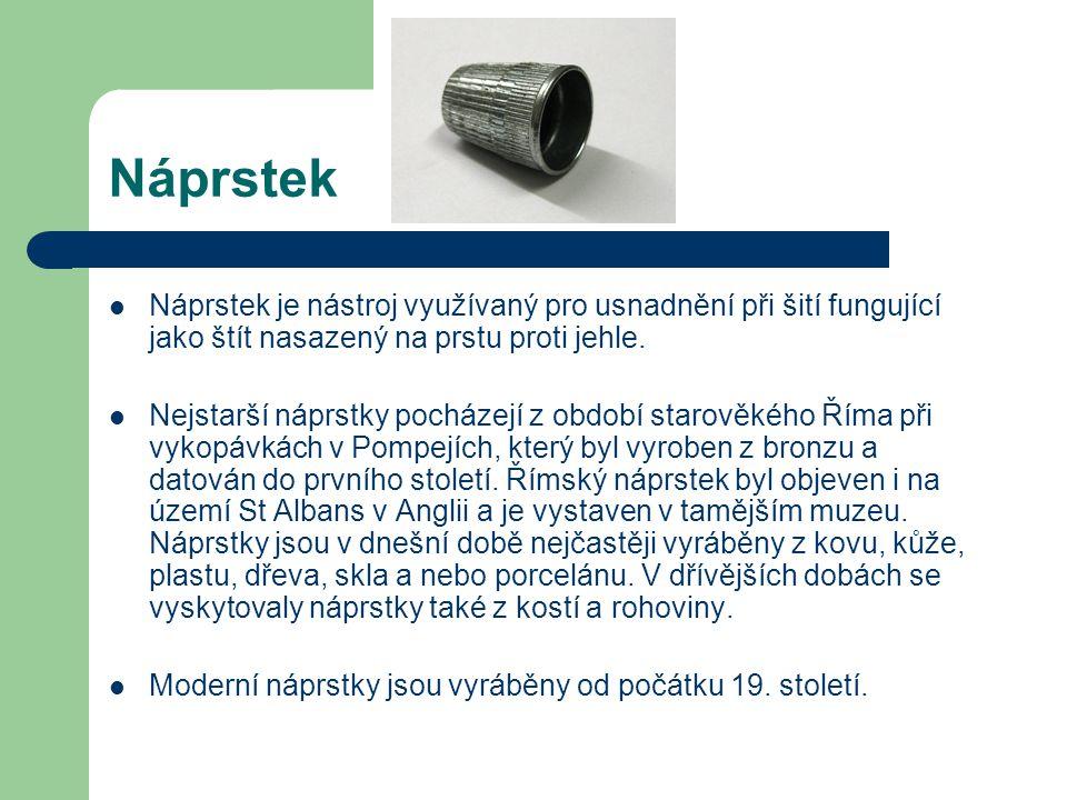 Náprstek Náprstek je nástroj využívaný pro usnadnění při šití fungující jako štít nasazený na prstu proti jehle.