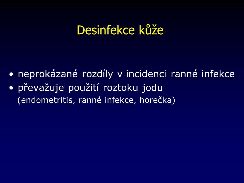 Desinfekce kůže neprokázané rozdíly v incidenci ranné infekce