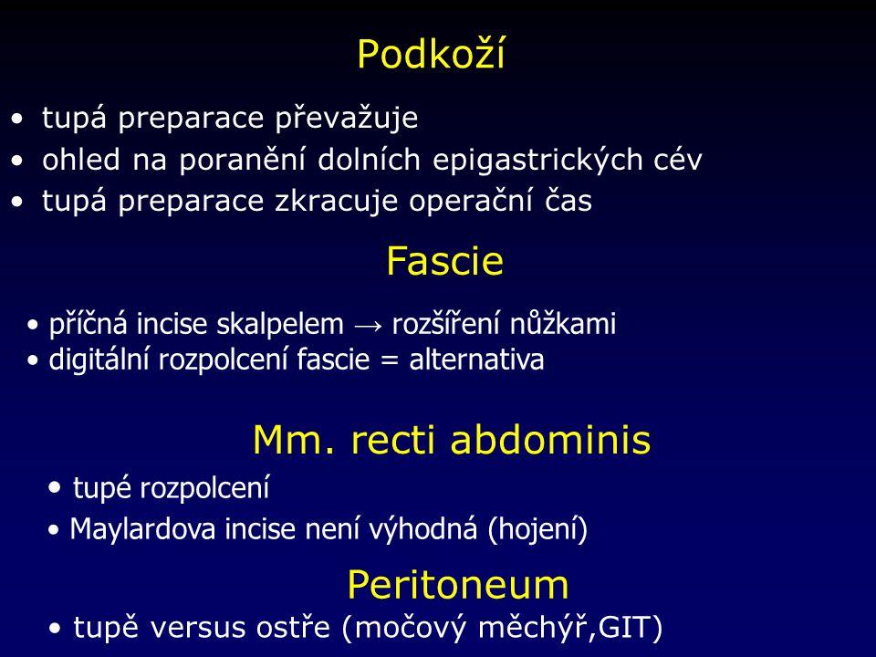 Podkoží Fascie Mm. recti abdominis Peritoneum tupé rozpolcení