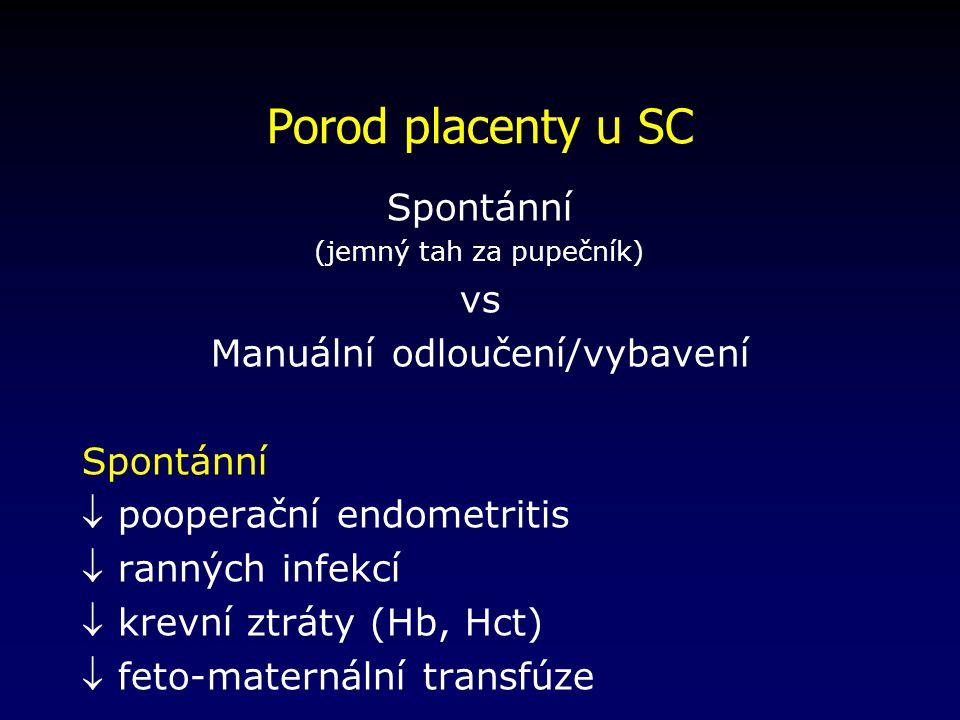 Porod placenty u SC Spontánní vs Manuální odloučení/vybavení