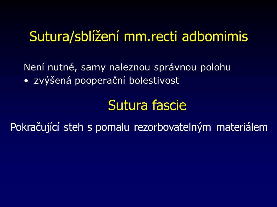 Sutura/sblížení mm.recti adbomimis