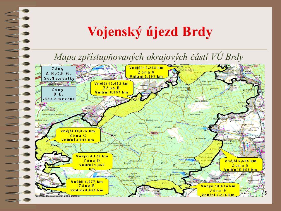 Mapa zpřístupňovaných okrajových částí VÚ Brdy