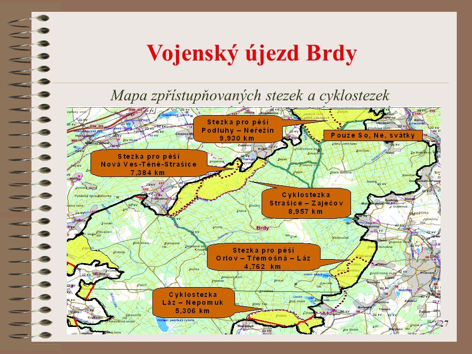 Mapa zpřístupňovaných stezek a cyklostezek