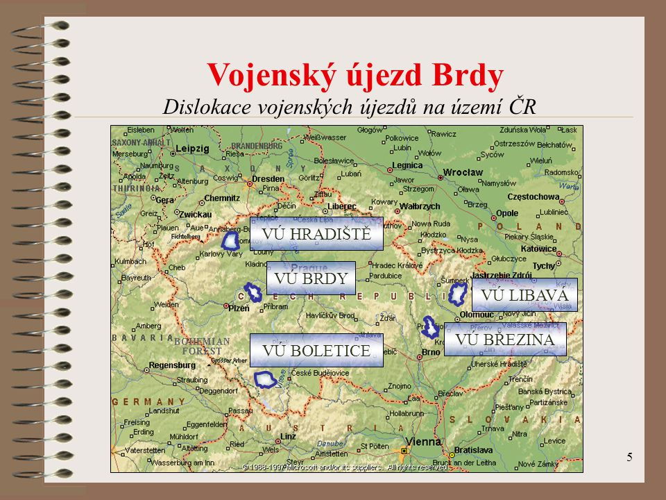 Dislokace vojenských újezdů na území ČR