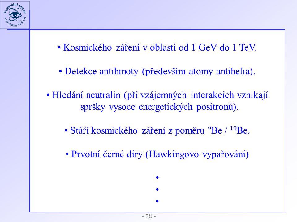 Kosmického záření v oblasti od 1 GeV do 1 TeV.
