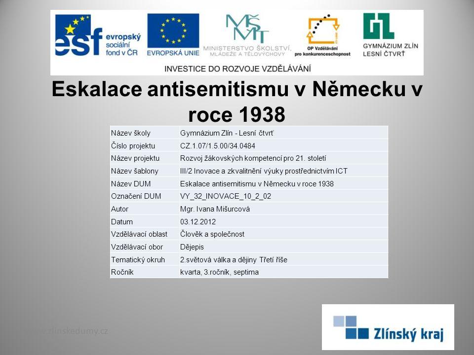 Eskalace antisemitismu v Německu v roce 1938