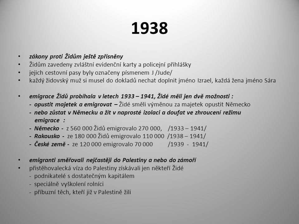 1938 zákony proti Židům ještě zpřísněny