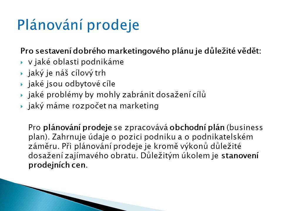 Plánování prodeje Pro sestavení dobrého marketingového plánu je důležité vědět: v jaké oblasti podnikáme.