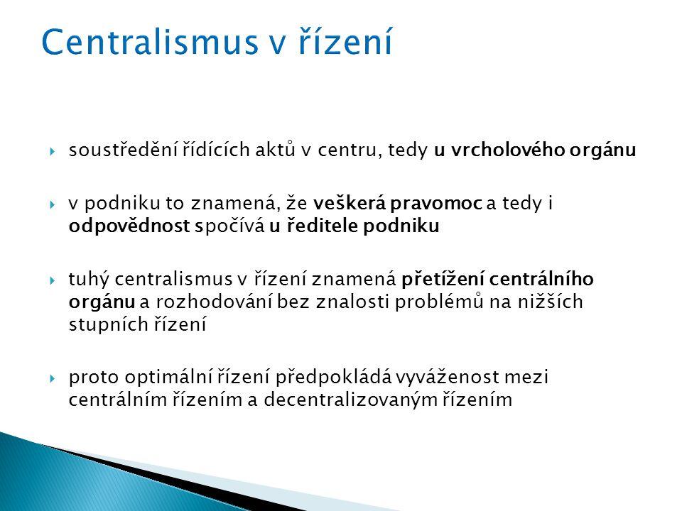 Centralismus v řízení soustředění řídících aktů v centru, tedy u vrcholového orgánu.