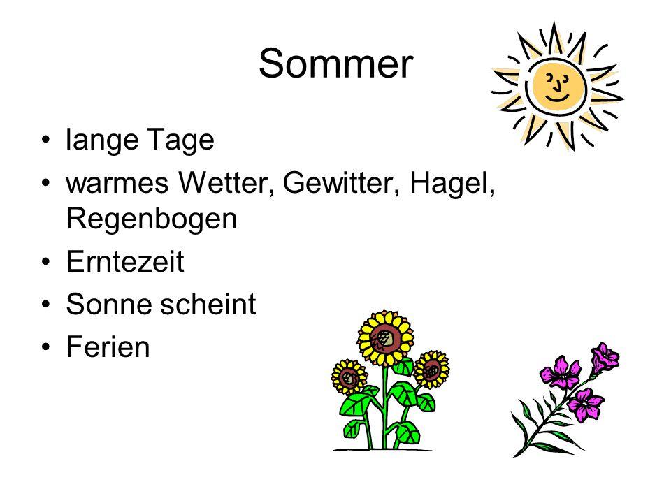 Sommer lange Tage warmes Wetter, Gewitter, Hagel, Regenbogen Erntezeit