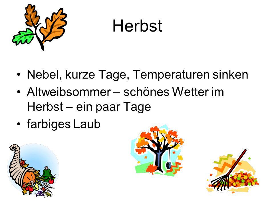 Herbst Nebel, kurze Tage, Temperaturen sinken